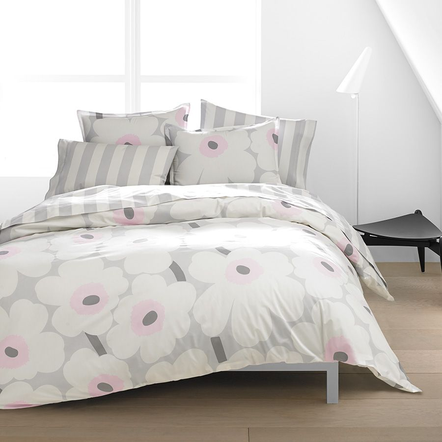Soft And Elegant Gray And Pink Nursery: Marimekko Unikko Soft Pink Duvet Set