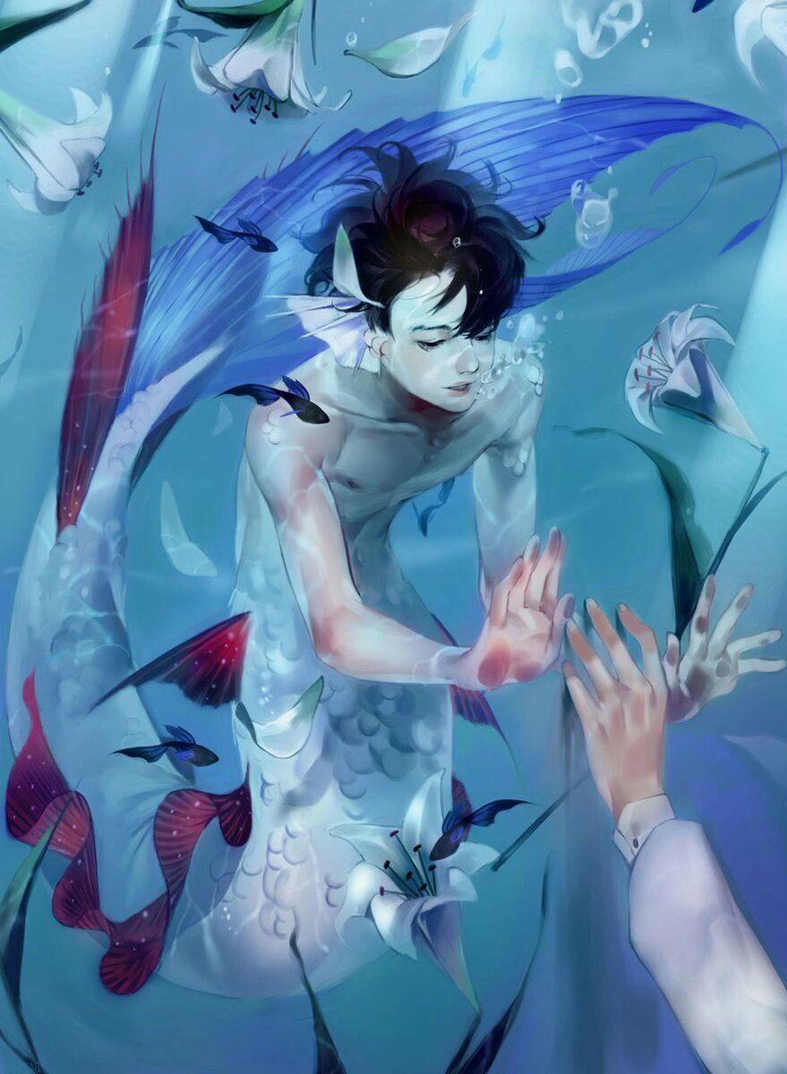 Art  boy-mermaid   Anime mermaid, Mermaid drawings, Mermaid art