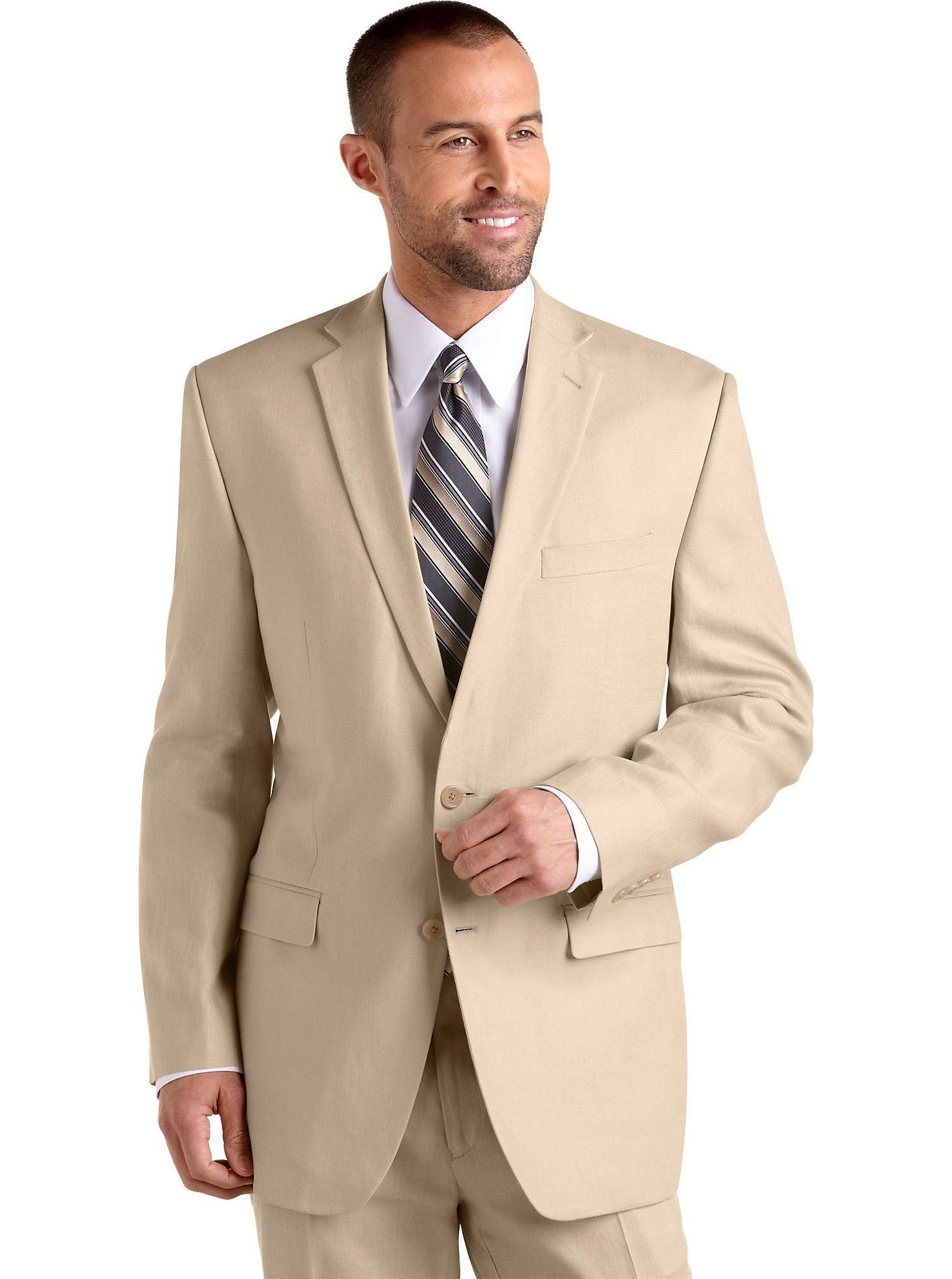 7d72af970d96 Mens - Calvin Klein Tan Linen Suit Separates Slim Fit Coat - Men's Wearhouse