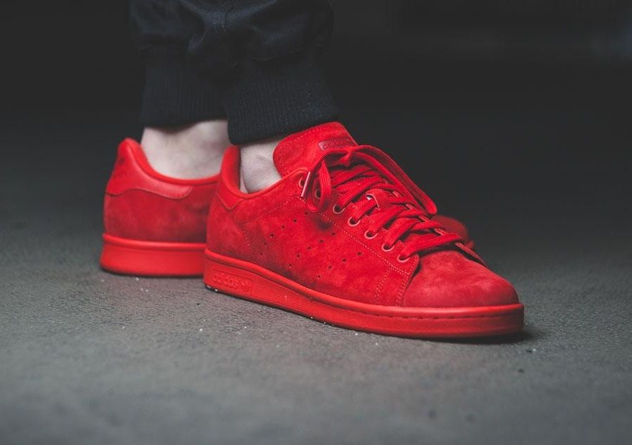 Womens Red White Adidas Stan Smith Adicolor Leather Shoes Dexterous Price