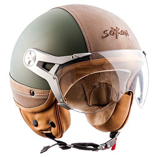 Vintage Full Face Motorcycle Helmet Deluxe Handmade Leather Street Bike Cruiser