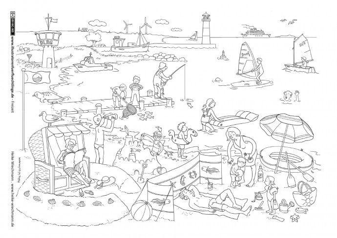Freizeit Meer Strand Wiechmann Illustrator Wimmelbild Ausmalbilder