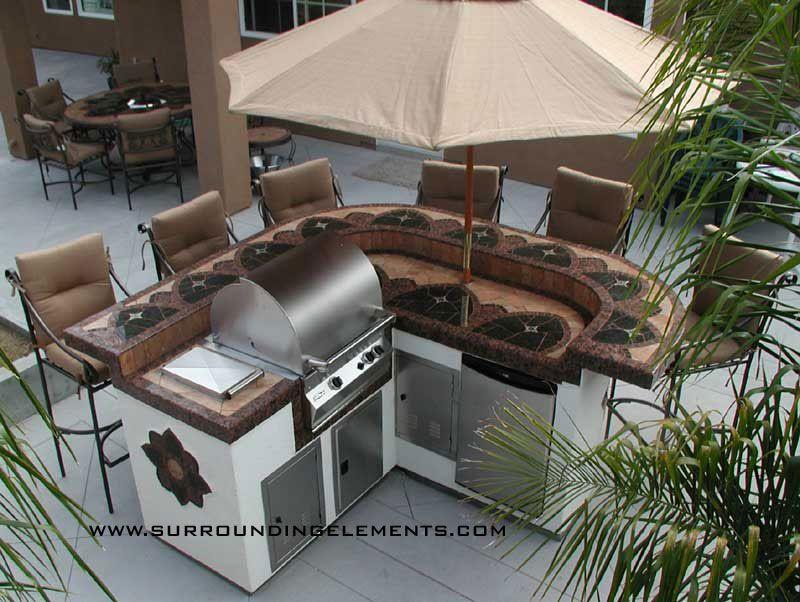 Spartan Island With Barbecue, Side Burner, Refrigerator, Storage Doors,  Umbrella And Raised