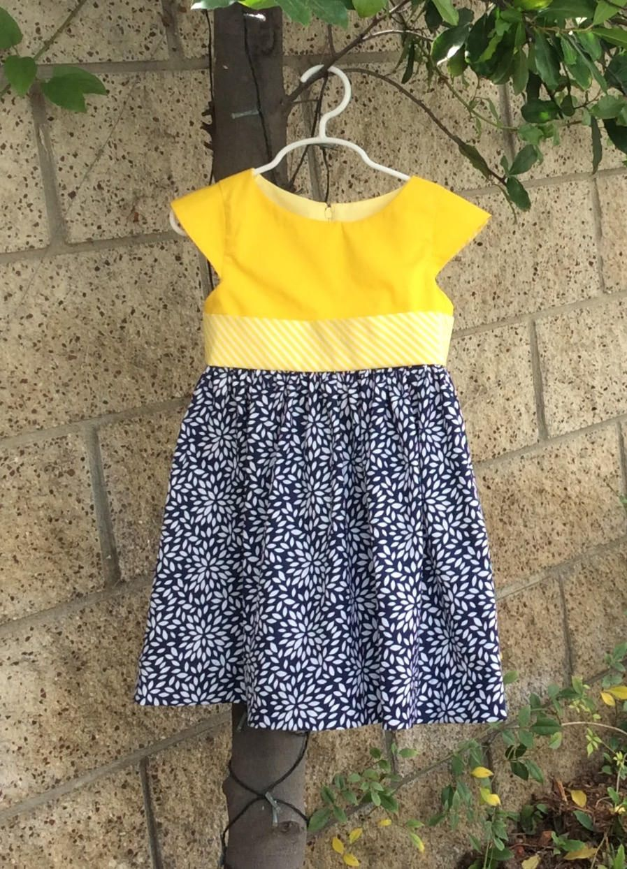 Girls toddlers dress cotton dress lnavy blue white and yellow