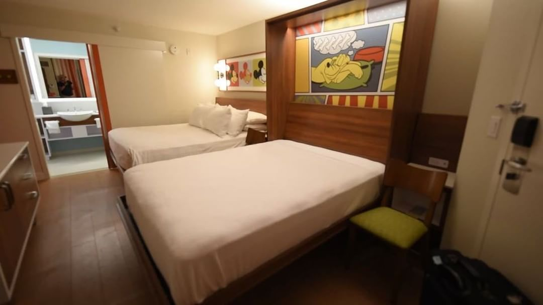 We Ve Stayed In A Newly Refurbished Room At Pop Century Resort And Wanted To Share Some Photos And Video Fr Disney Pop Century Pop Century Disney Tourist Blog