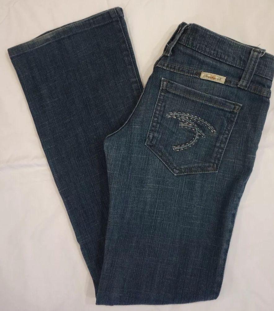 Frankie B Boot cut dark blue denim jeans w/ 'F' pockets women's Sz 4 X 32 EUC #FrankieB #BootCut