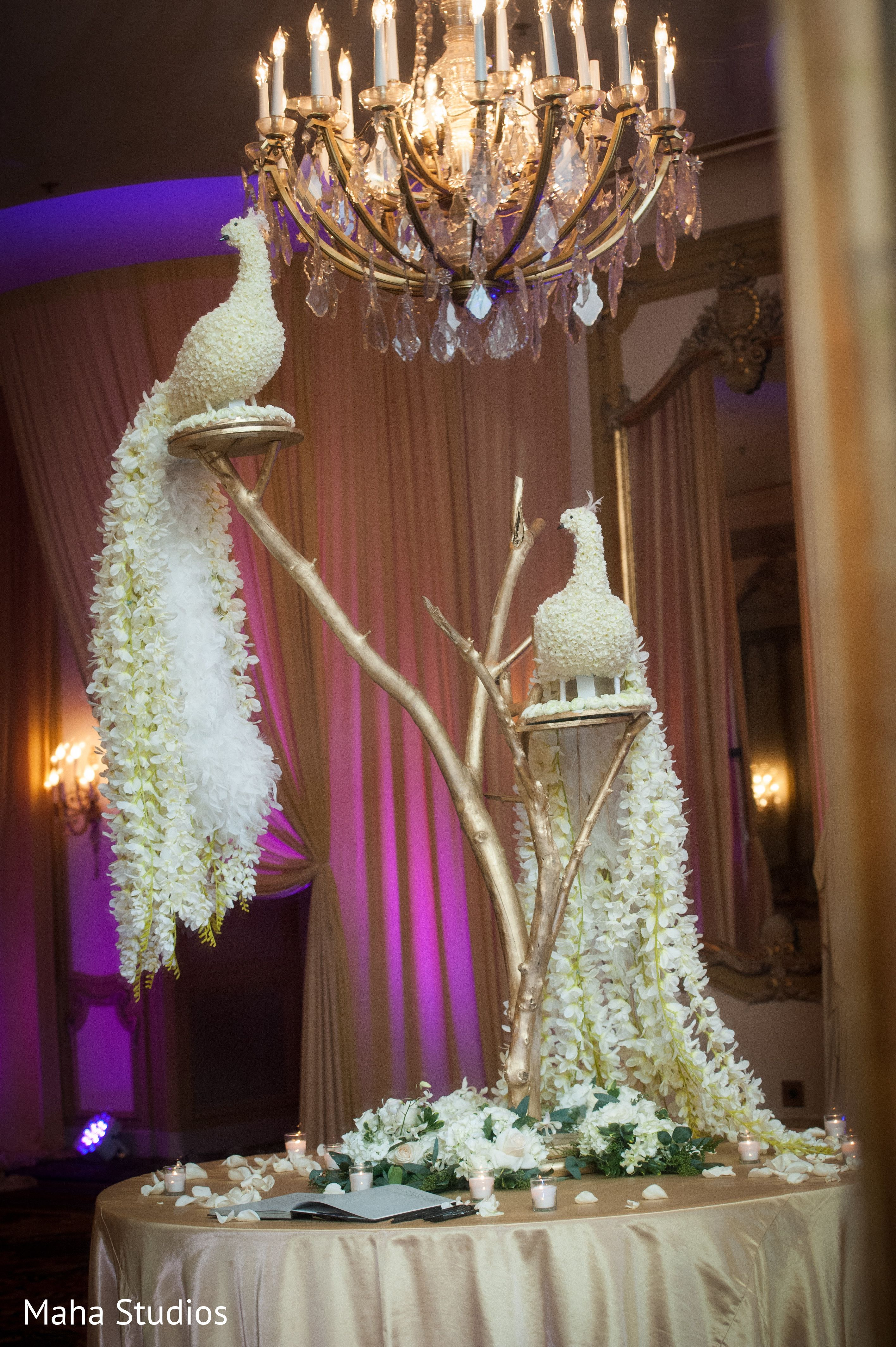 Fabulous wedding floral peacocks in Chicago IL