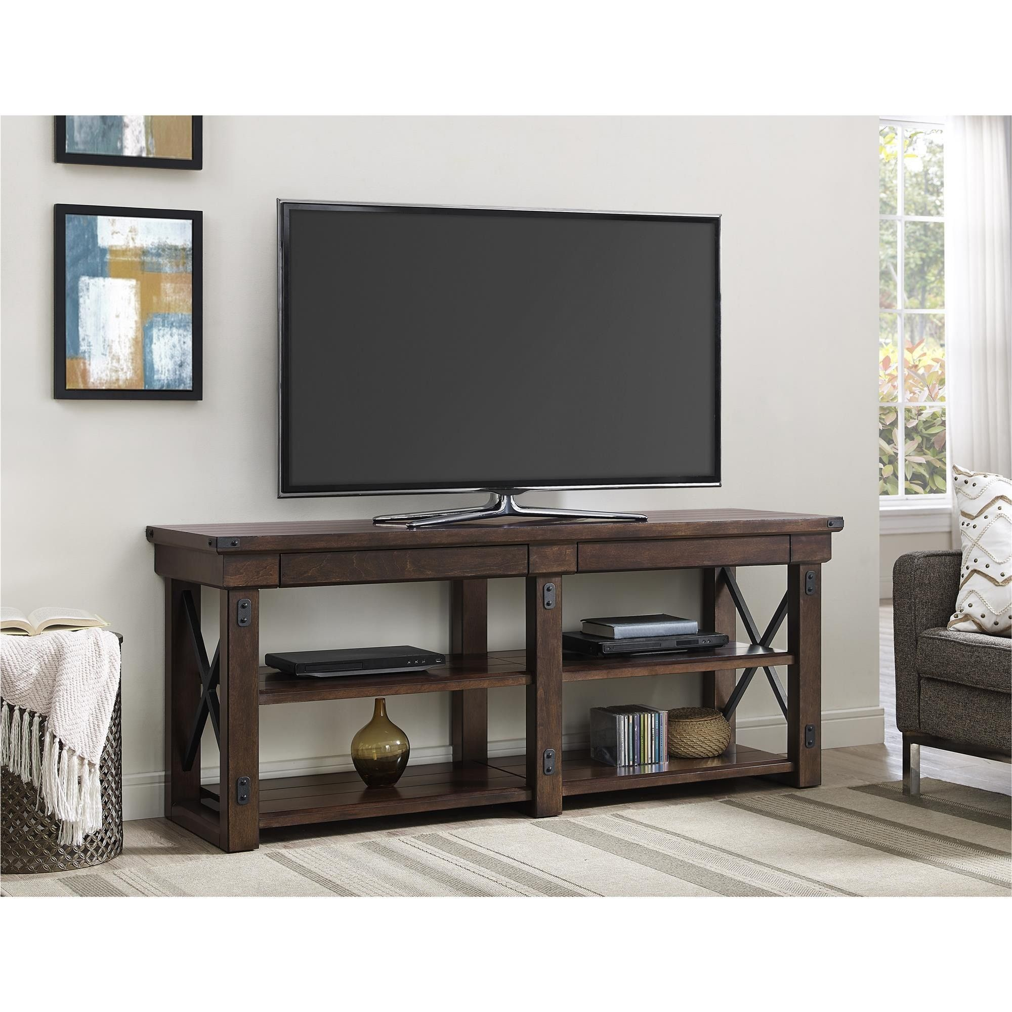 The Altra Wildwood Veneer Tv Stand Brings Both Beauty And Organization To Your Living Room This Wood Holds A Flat Screen Up 65 Inches