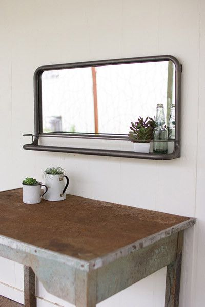 Metal Frame Horizontal Mirror With Shelf