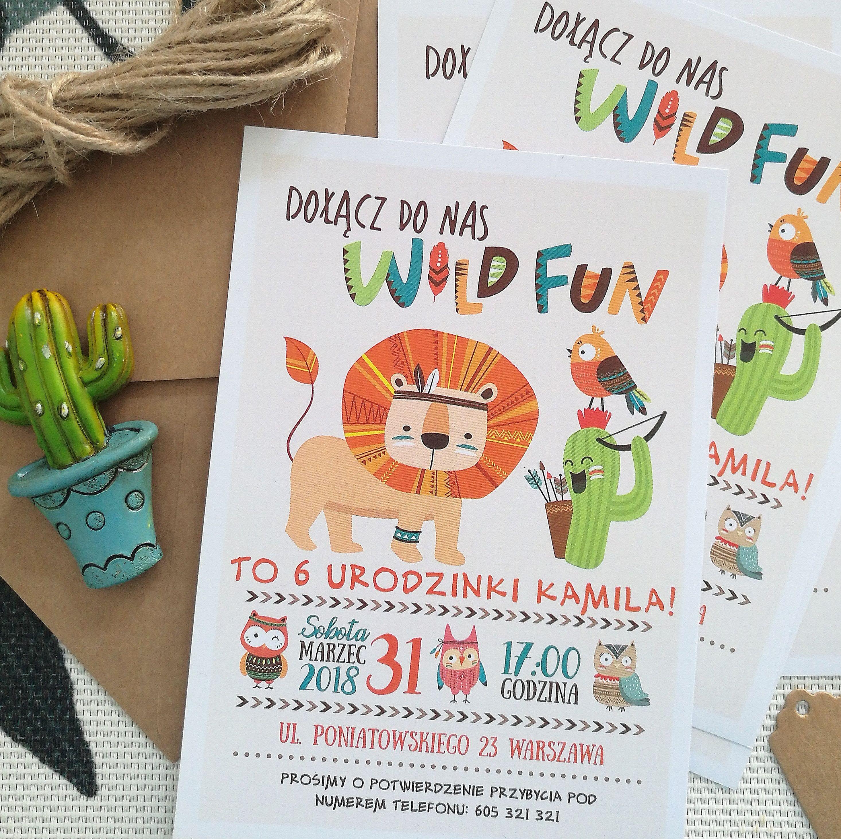 Zaproszenie Na Urodziny Wild Fun Mafodesign Kids Party