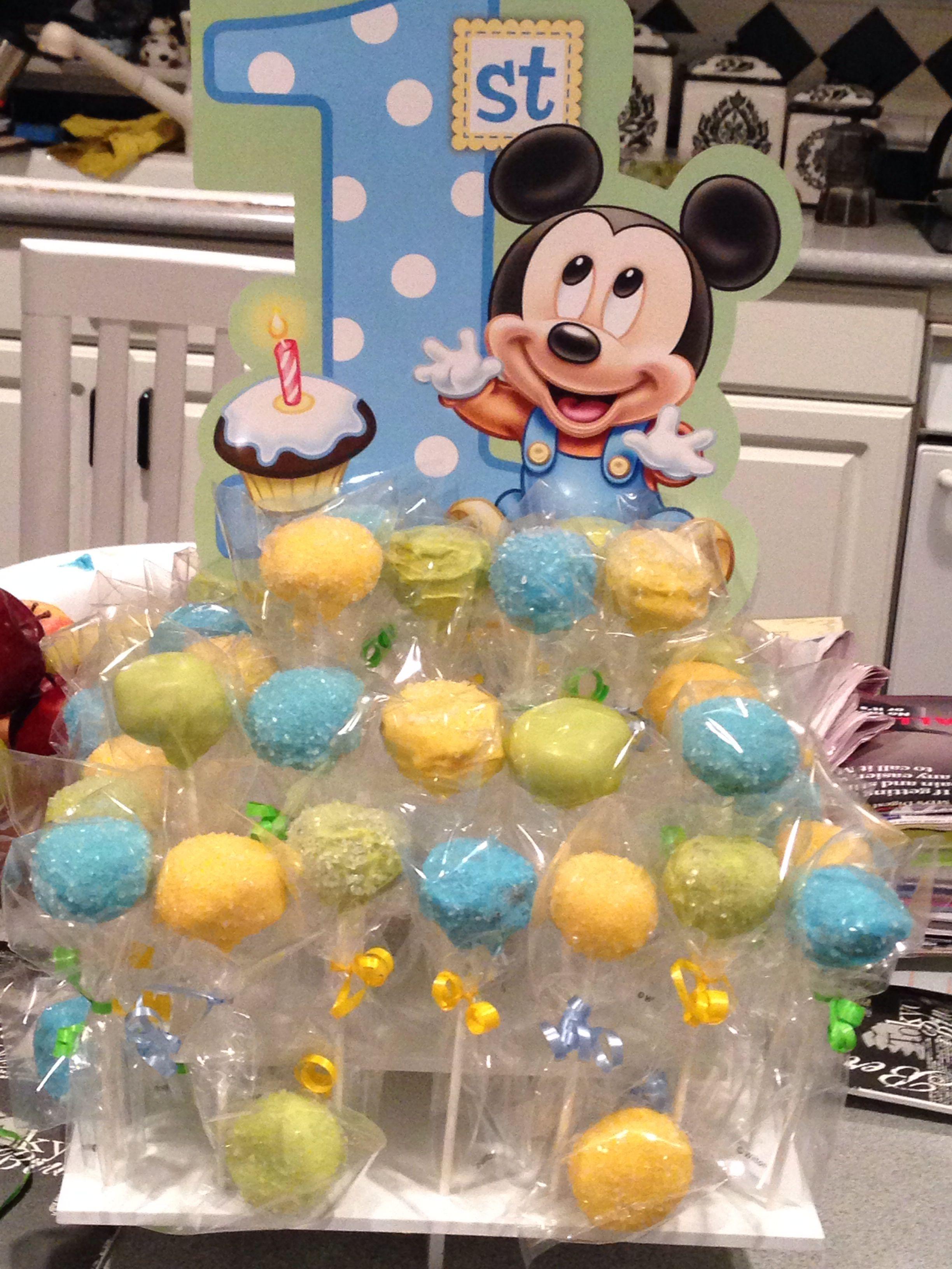 Baby mickey mouse birthday cake pops mickey pinterest baby erster geburtstag erste - Cake pops 50 geburtstag ...