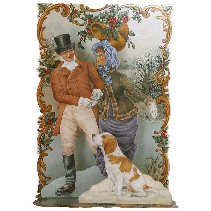 pop up couple dickensian christmas card england. Black Bedroom Furniture Sets. Home Design Ideas