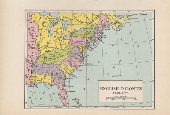 English Colonies 1763-1775, 1936 Vintage Map, American ...