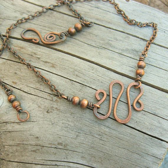 All Copper Beaded and Hammered necklace wire by BearRunOriginals