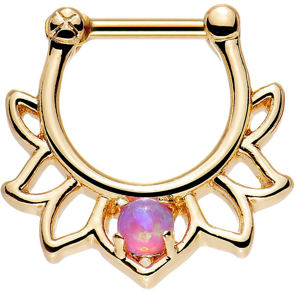 """1/4"""" Pink Faux Opal Gold Anodized Lotus Septum Clicker"""