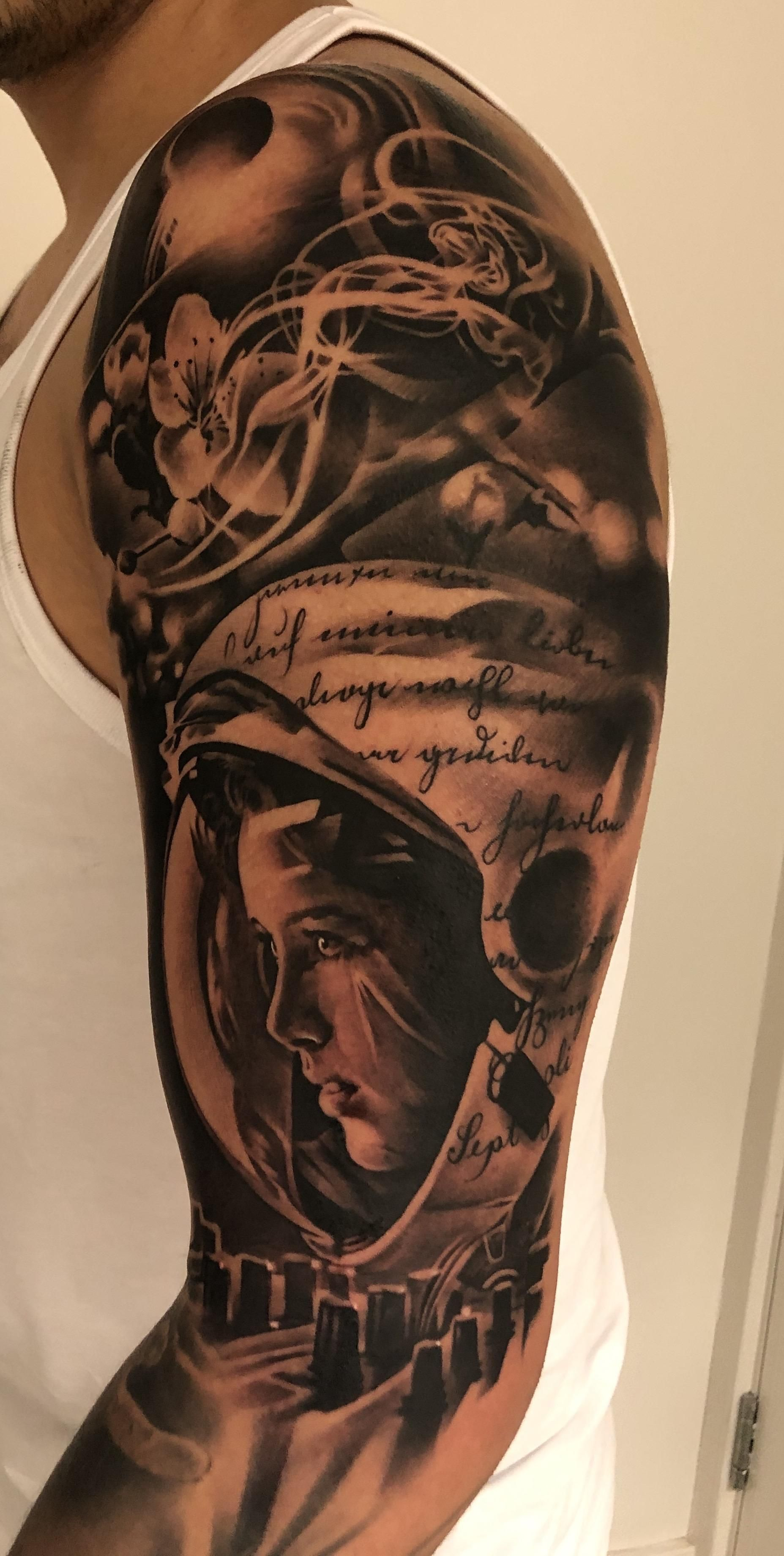 Anna Lee Fisher tattoo done by Gary Mossman in Basingstoke
