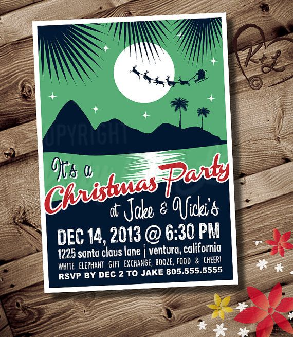 Hawaiian Christmas Party Ideas Part - 40: I Love These Retro Hawaiian Christmas Invite