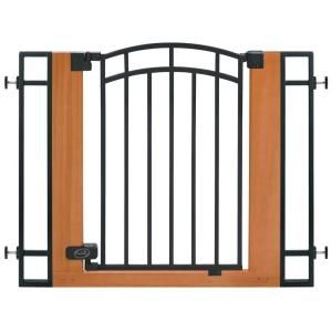 Stylish Secure Wood Metal Walk Thru Gate 07534z At The Home Depot Wood And Metal Baby Gates Child Safety Gates