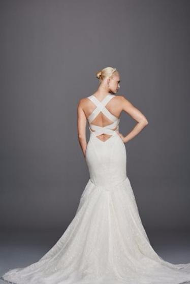Truly Zac Posen Criss Cross Back Wedding Dress Wedding Dresses Designer Wedding Dresses Lace Mermaid Wedding Dress