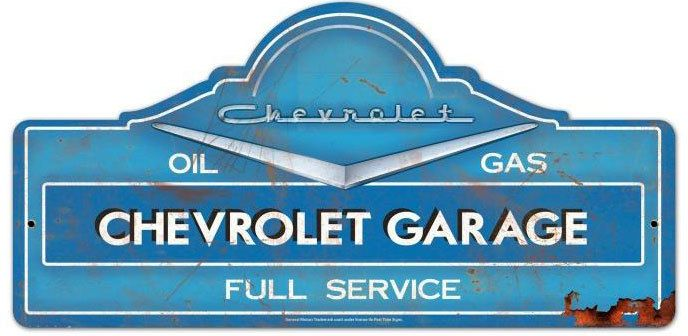 Chevrolet Garage Custom Shape Metal Sign 27 X 14 Inches Metal