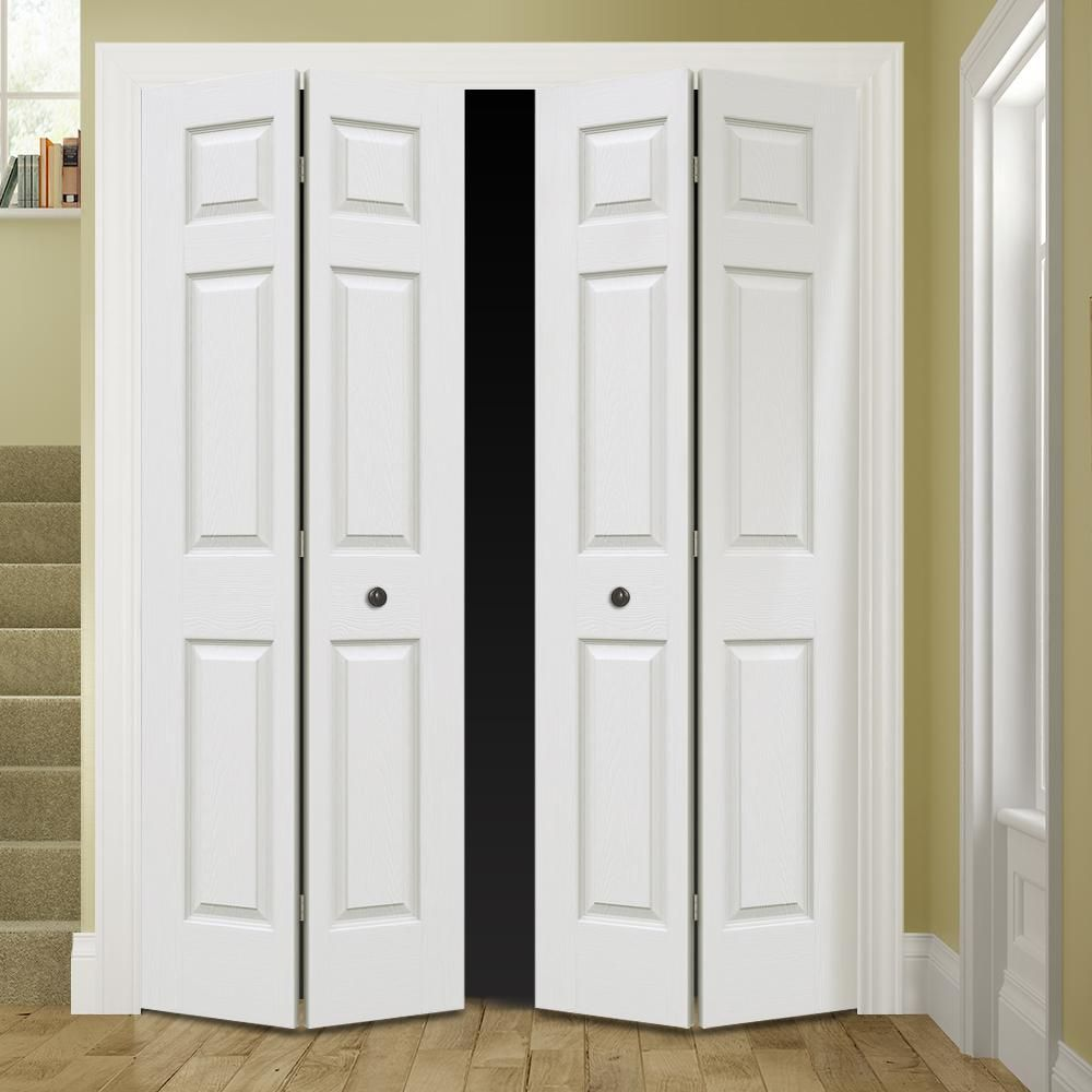 Jeld Wen 48 In X 80 In Colonist Primed Textured Molded Composite Mdf Closet Bi Fold Double Door Thdjw160600153 Custom Wall Unit Well Decor Low Bed Frame