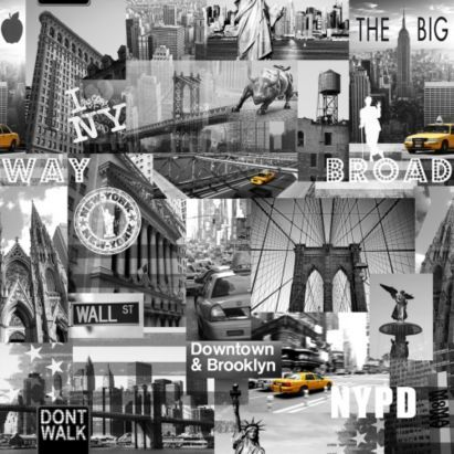 Big Apple Wallpaper In Yellow Grey And Black With A Textured Finish By Muriva Feature Wallpaper New York Wallpaper City Wallpaper