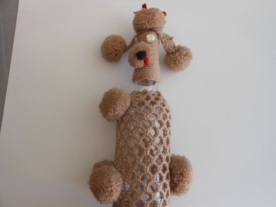 Vintage crocheted bottle cover poodle with by focusoninteriors123, $14.00