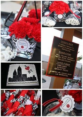 Damask Red White And Black Party