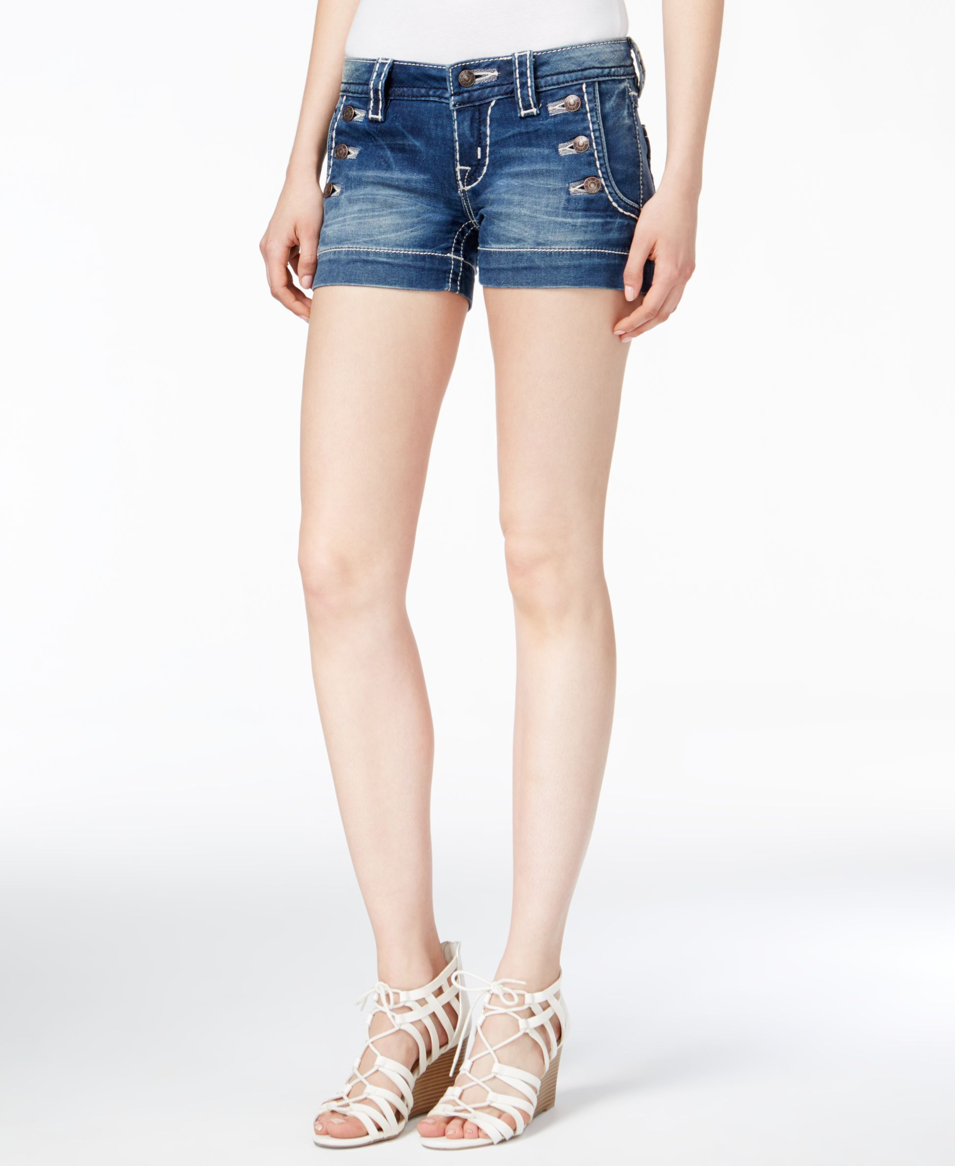Miss Me Sailor Dark Blue Wash Denim Shorts