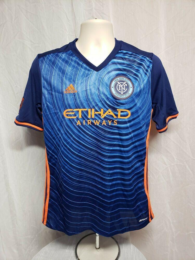 Adidas New York City Football Club Etihad Airways Boys Blue Xl Jersey Adidas Graphictee Football Outfits Football Club New Adidas
