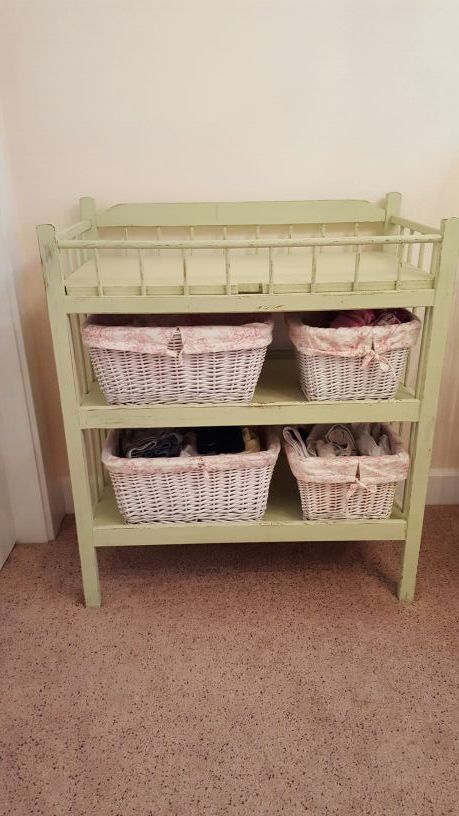 Shabby Chic Vintage Look Baby Changing Table With Baskets Light Green  Nursery