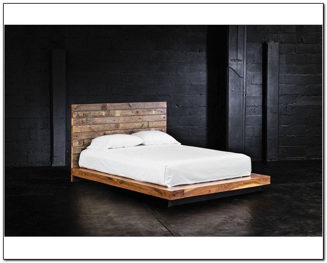 Bedroom Low Platform Bed Frame King Size On Black Wooden Design