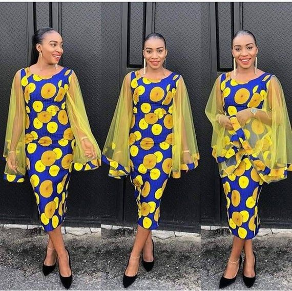 Ankara butterfly sleeves, midi dress #ankarastil