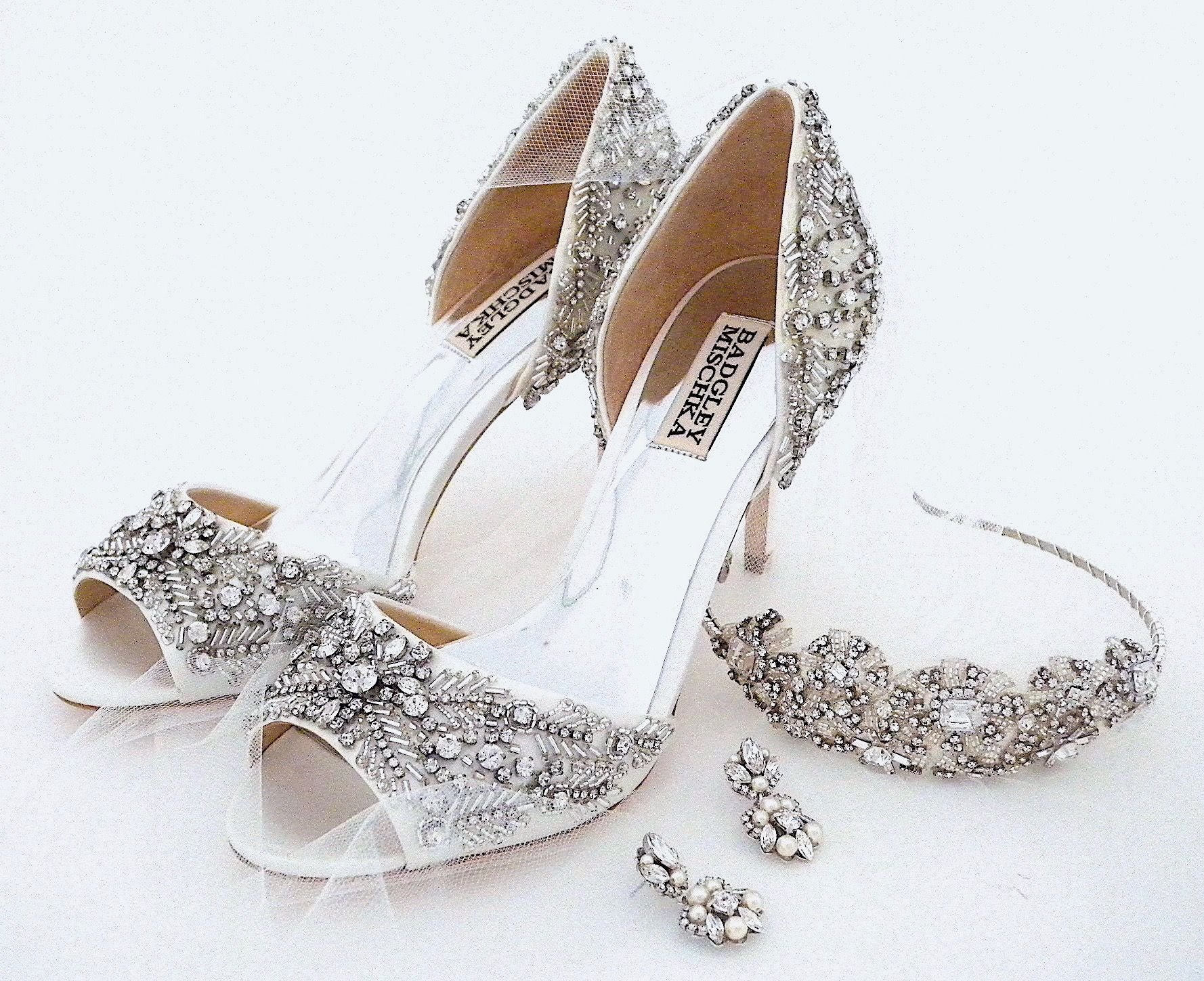 Wedding Shoes By Badgley Mischka Bridal Headpiece By Laura Jayne Wedding Earrings By Sara Gabriel Afterthedressr Wedding Shoes Bridal Earrings Bridal Accessories