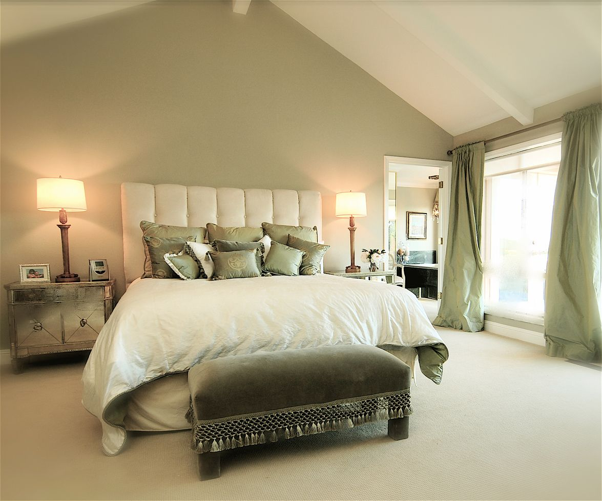 Sage Green Accent Wall Behind The All White Bed With Green