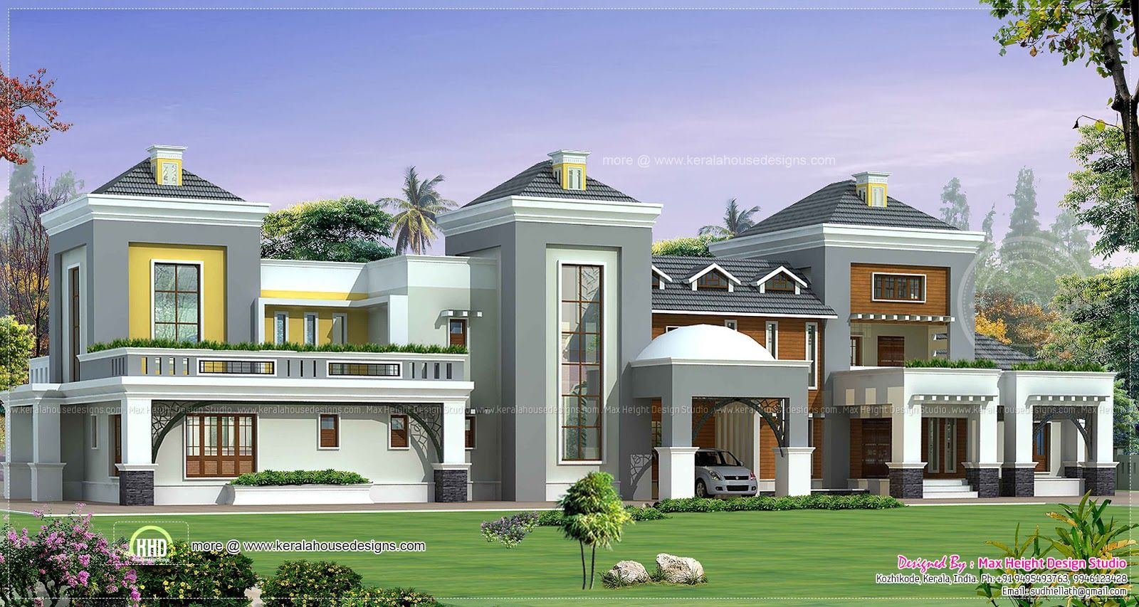 Luxury house plan with photo kerala home design and for Luxury house plans online