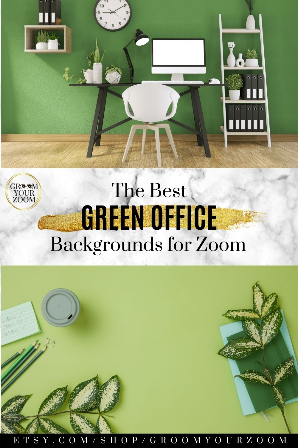 Teal Green Office Zoom Background 4 Virtual Photos For Video Call Professional Background Online School Digital Download Green Backdrops Virtual Environment Background