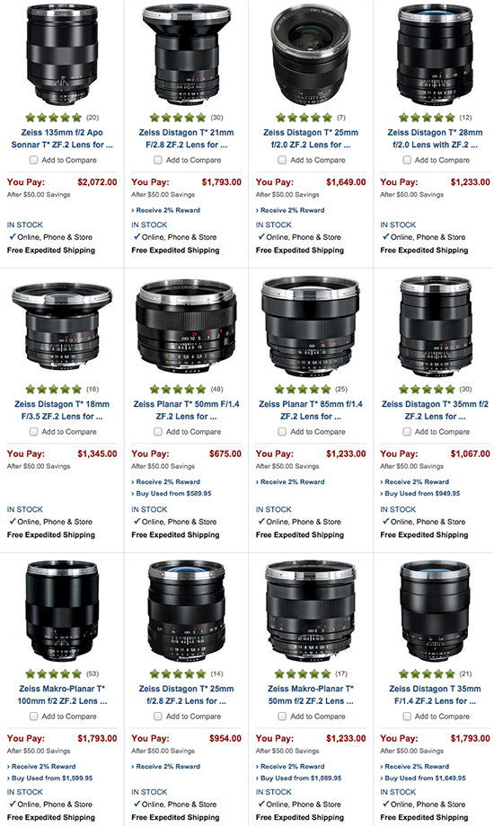 $50 off Zeiss ZF 2 lenses for Nikon mount is your deal of the day
