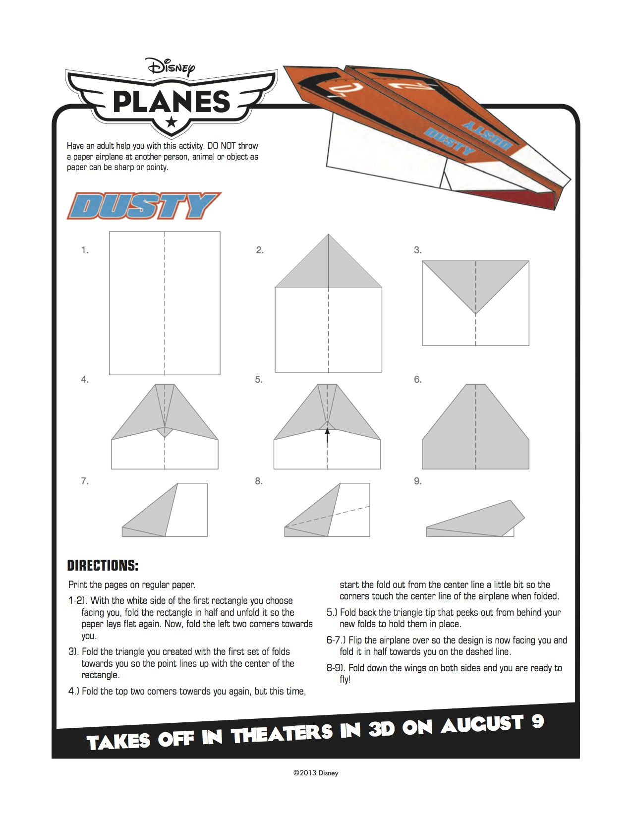 Disney Planes Printable Dusty Paper Airplane Craft With