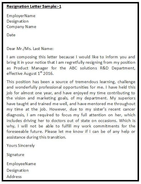 Resignation Letters Samples  Resignation Letters Samples