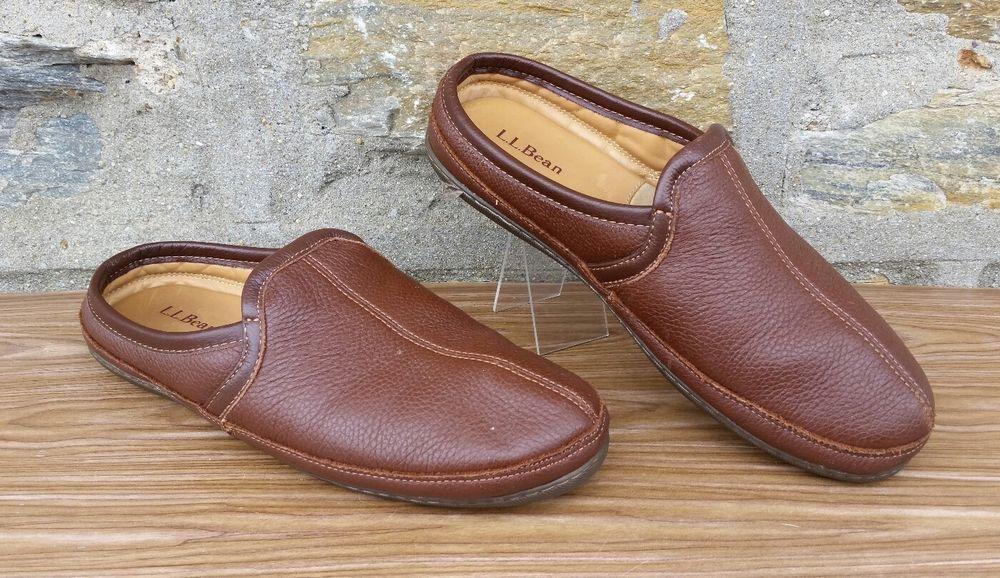 LL Bean Elkhide Slippers Braun Leder Men's M 10 M Men's Slip On Schuhe Scuff 82d435