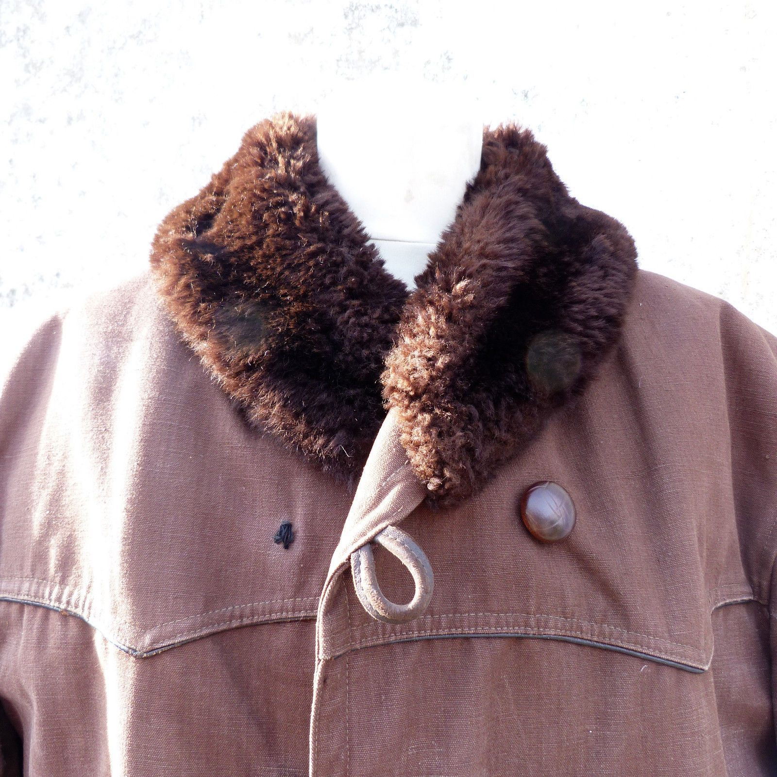 "C=47"", W=47"" L=37""Vintage 1930 /1950 French Canadienne Parka Jacket Worker…"