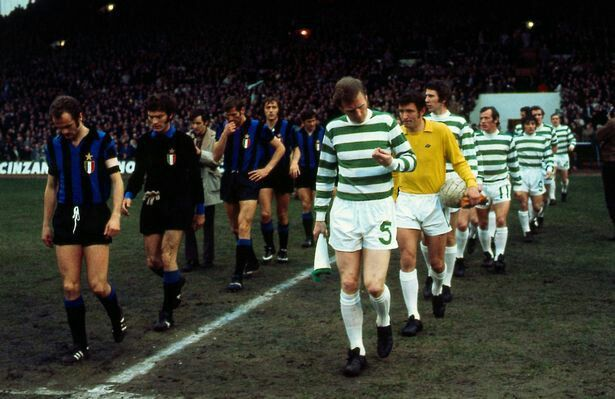 The teams come out for the Celtic v Inter Milan European Cup Semi-Final at Celtic Park in 1972.