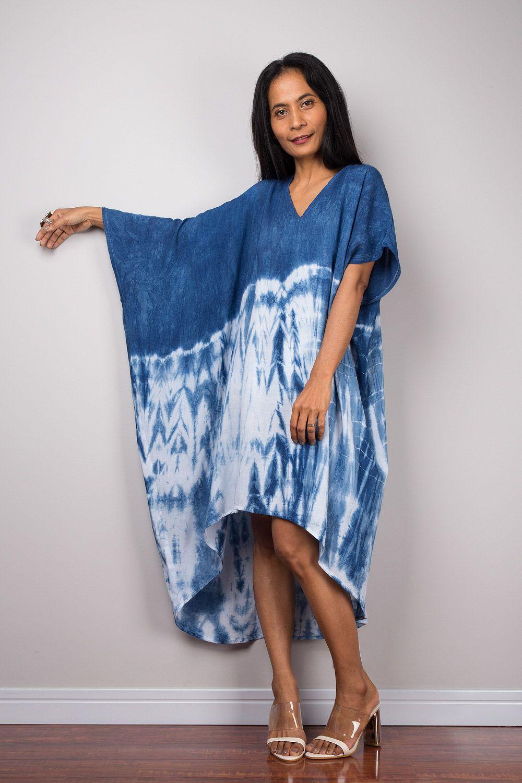 Tie Dye Midi Summer Kaftan Dress Blue White Handmade Dress Etsy Kaftan Dress Shibori Dress Dresses [ 1500 x 1000 Pixel ]