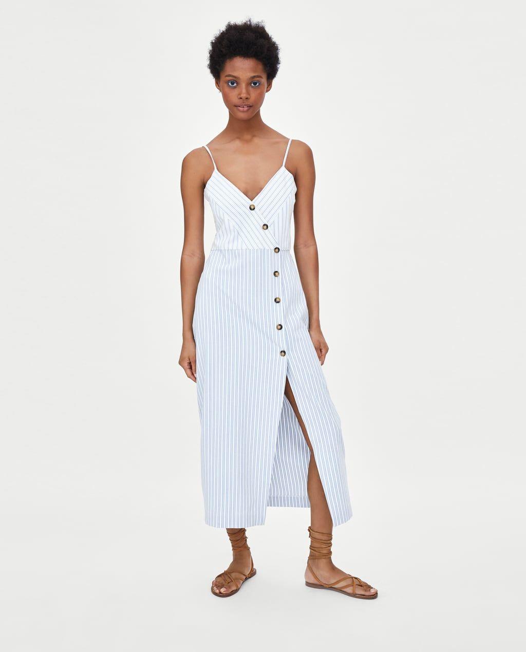 Imagen 4 de VESTIDO RAYAS BOTONES de Zara | Vestido de rayas