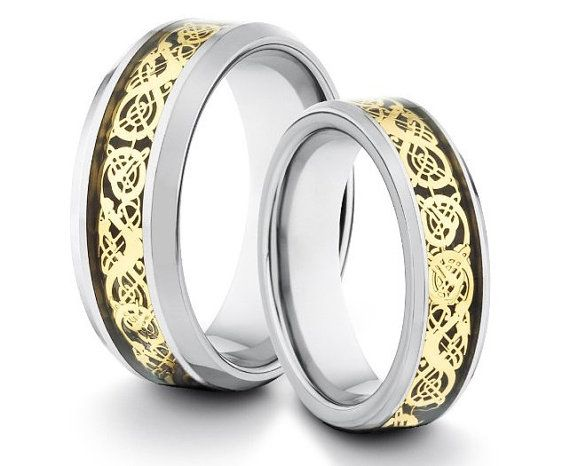 Tungsten Wedding Band Tungsten Matching Set Asian Dragon Inlay Gold