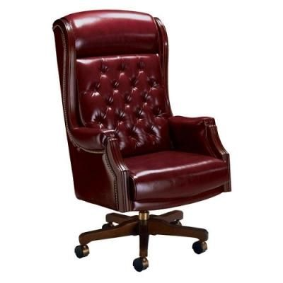 La Z Boy Traditional High Back Leather Judge S Chair
