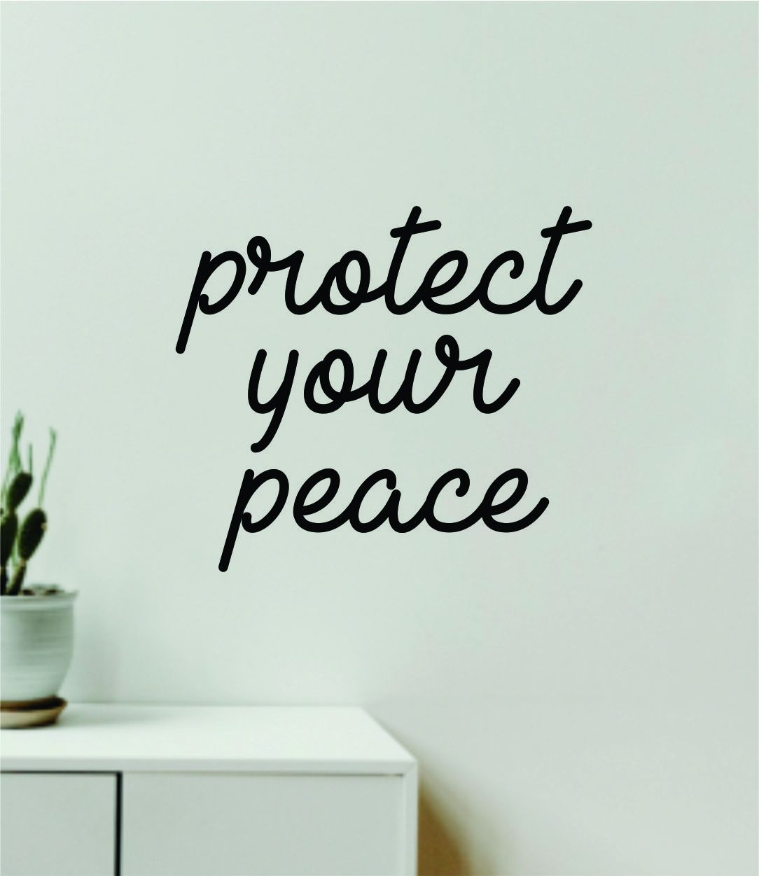 Protect Your Peace Quote Wall Decal Sticker Vinyl Art Decor Bedroom Room Girls Inspirational Trendy Yoga Meditate Buddha Namaste - yellow