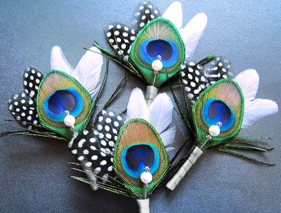 4 Peacock Themed Wedding Flowers Groomsmen Boutineer Feather Pin Boutonniere