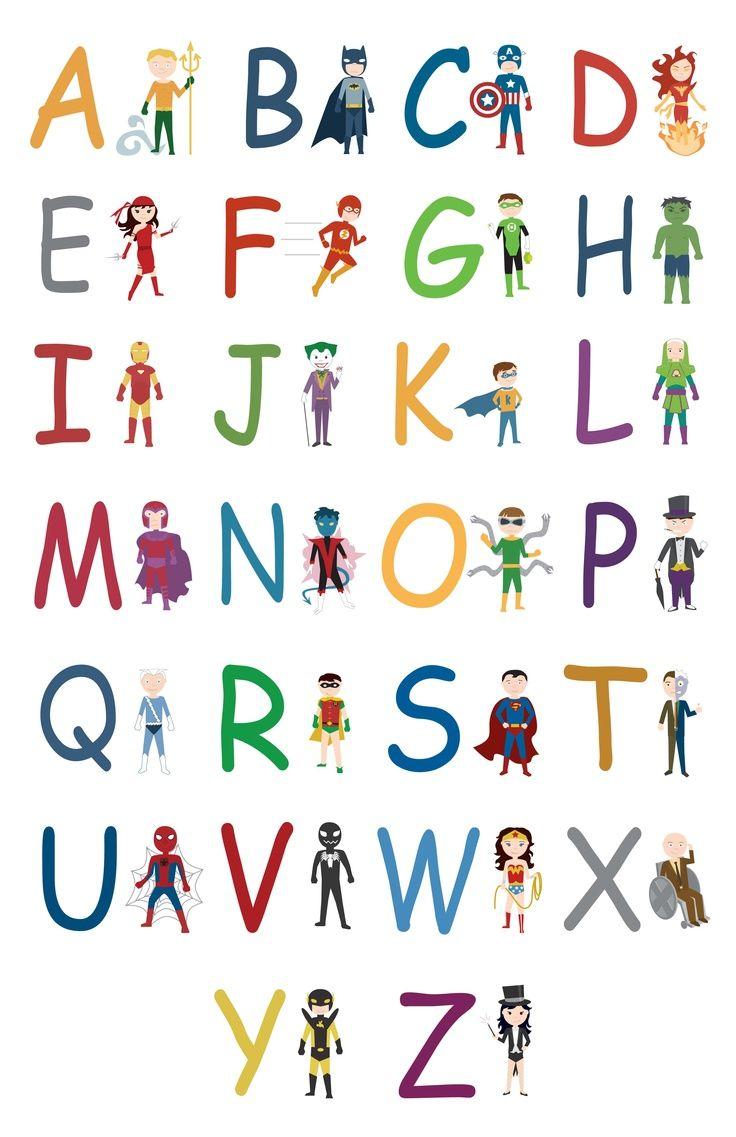 Superhero Letters Printable Superhero Alphabet A Z Jpg